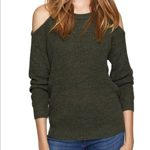 Sanctuary Riley Cold Shoulder Hunter Green Sweater